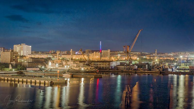 мурманск, ночь, порт, ледокол ленин, морвокзал Морские ворота Мурманскаphoto preview