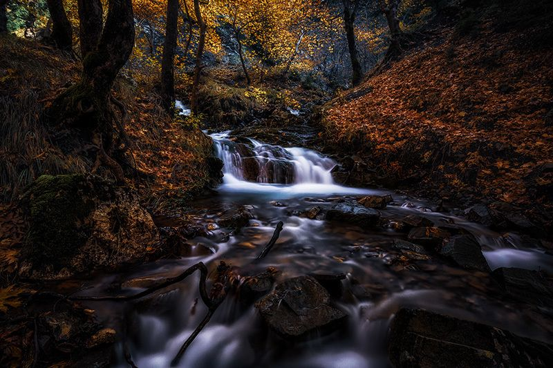 greece, trikala, long exposure, trees, waterfalls, nature, autumn, water, blue, travel, light, leaves, colors, beauty dreamlandphoto preview