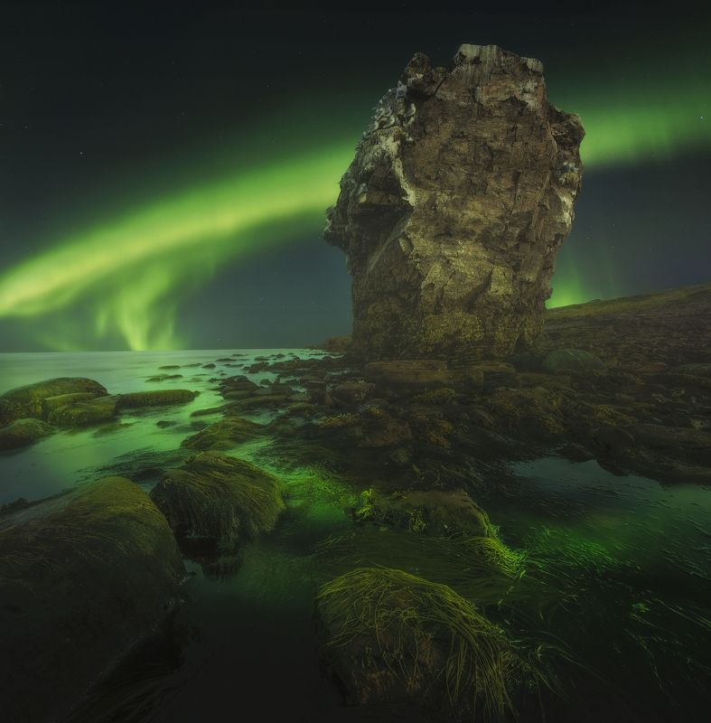 aurora bolearis, северное сияние, кольский  полуостров, белое  море, coast of the white sea, kola peninsula, мыс корабль,аметистовый берег Cape Shipphoto preview