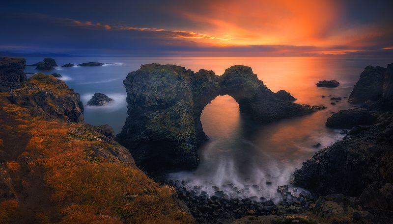 arnarstapi, iceland, landscape, sunrise, panorama arch rock in arnarstapi фото превью