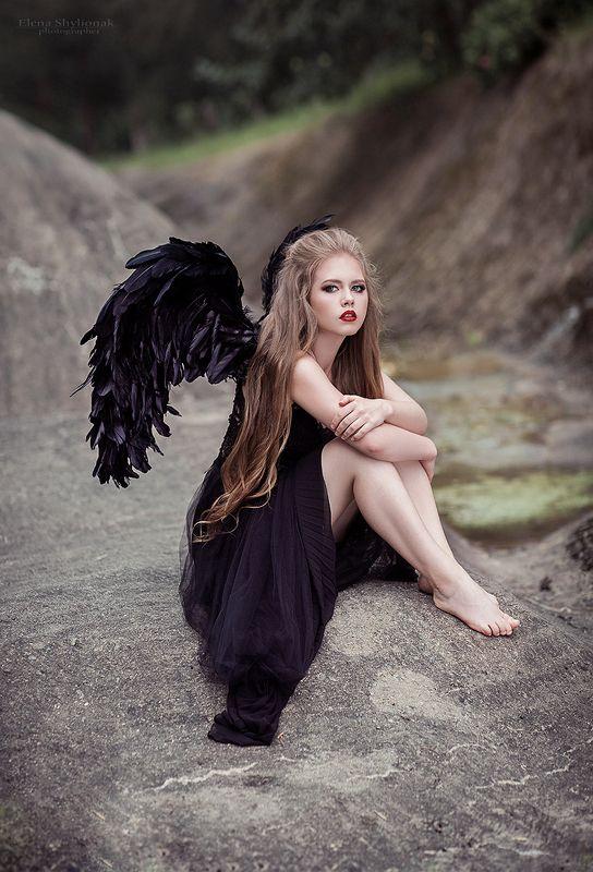 dark angel, ангел, крылья, черное, девушка, модель dark angelphoto preview