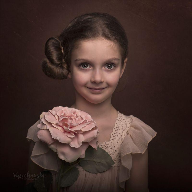 girl, portrait, friends, pet, animal, flower Girl\'s portraitphoto preview