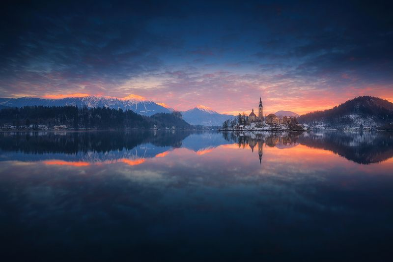 bled slovenia landscape waterscape reflection sunset clouds  bledphoto preview