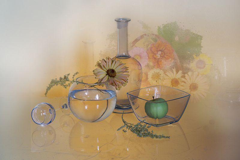 стеклянный ,предмет,цветы,осень,вера павлухина, Рыжая осеньphoto preview