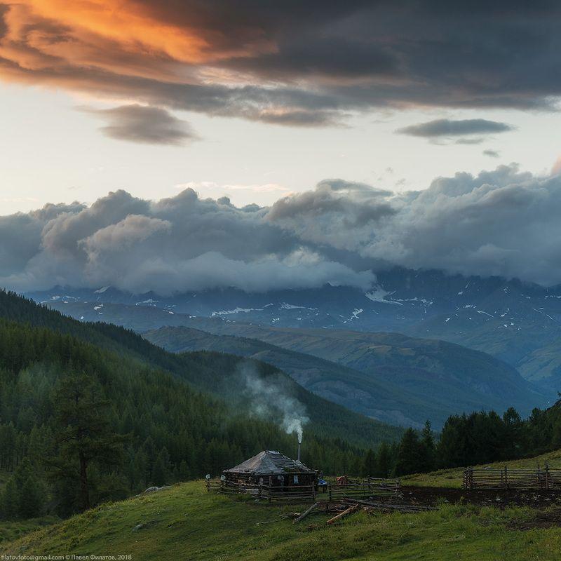 алтай, сибирь, закат, дом, стоянка, дым, Дымокphoto preview