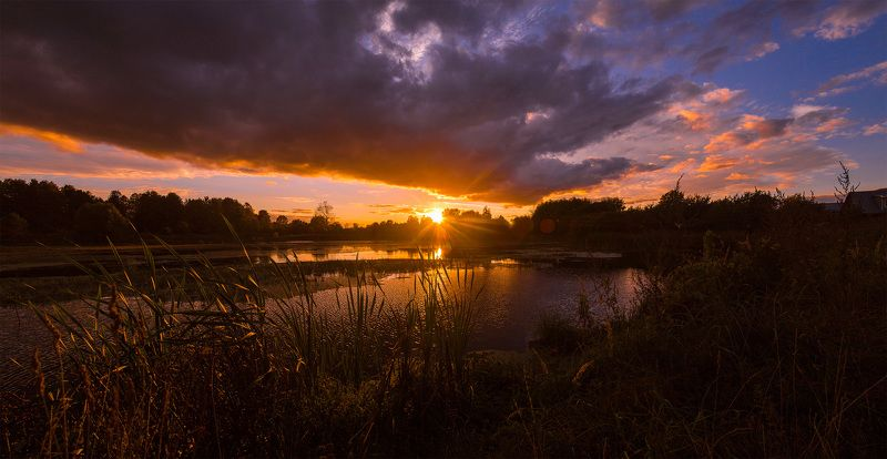 пруд, россия, иваново, лежнево. ивановская область, закат, природа, canon ***photo preview