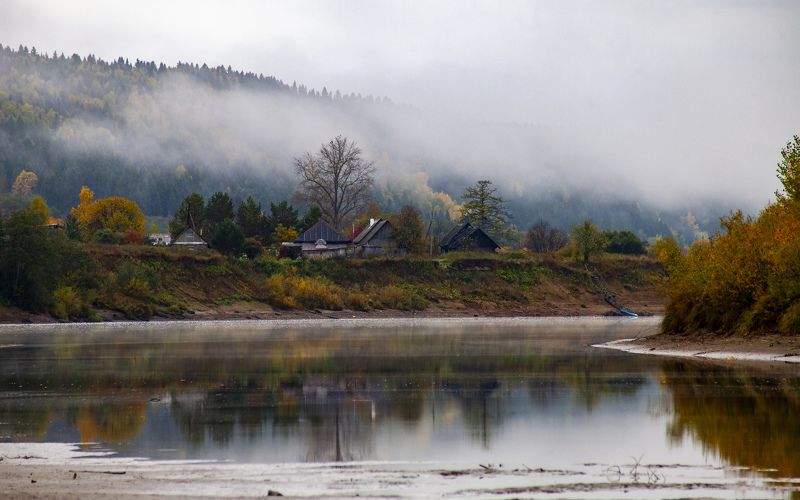 урал, пермский край, река, туман д. Малышатаphoto preview