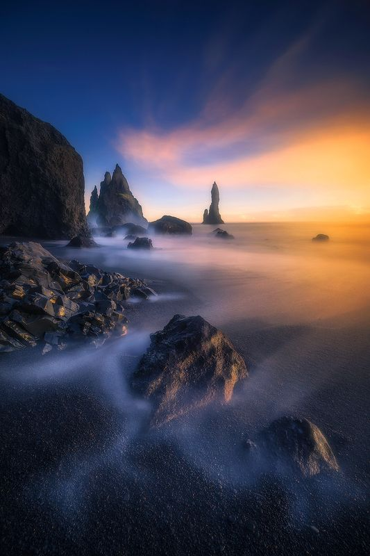 reynisfjara iceland landscape seascape waterscape long exposure sunset  reynisfjara photo preview