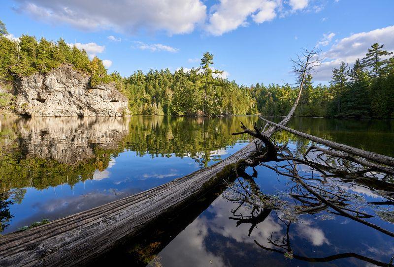 озеро, отражение, вечер, скалы, лес, тишина, lake, reflection, evening, rocks, wood, calm Liquid mirrorphoto preview