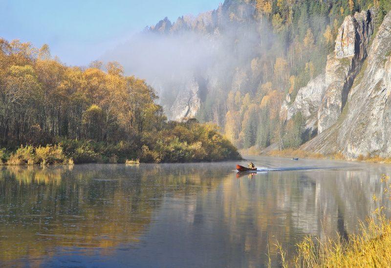 горная шория, сибирь, мрассу, осень, река, рыбак, туман, природа, пейзаж, горы Мрас-суphoto preview