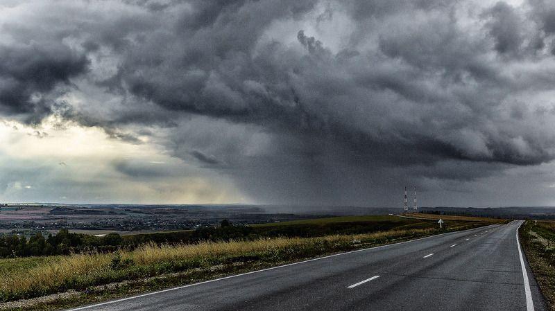пейзаж, дорога, дождь,  Гроза  идет. photo preview