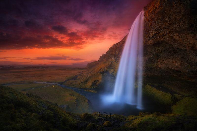 iceland waterfall sunset seljalandsfoss water  seljalandsfoss  фото превью