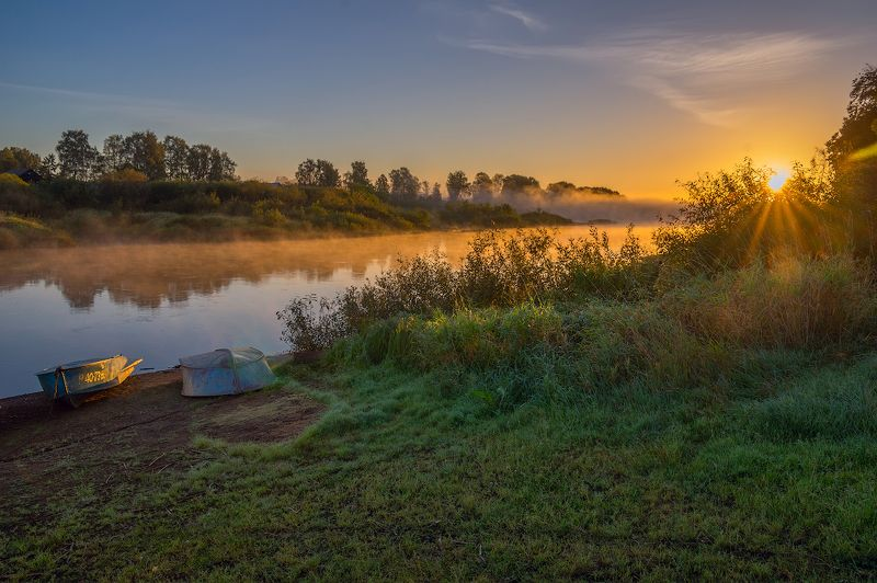 рассвет река туман лодки утро сентябрь молога Сентябрь... Рассвет и.. тишинаphoto preview