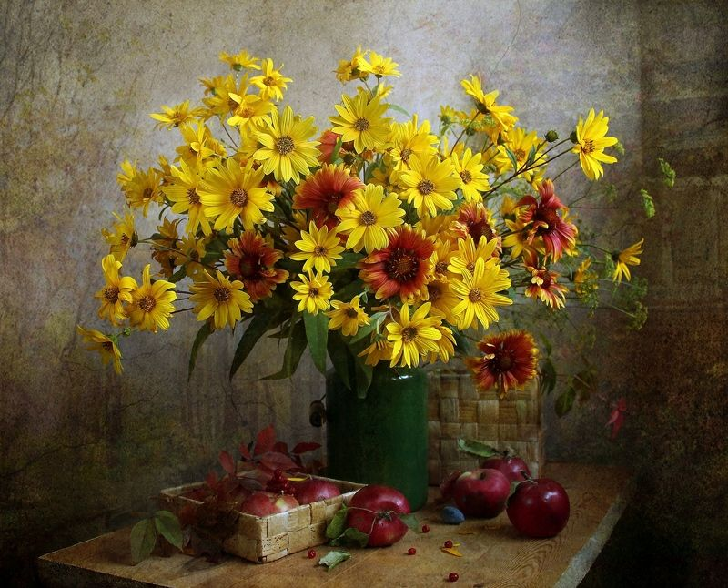 натюрморт, цветы, марина филатова, осень, фрукты Осень краски разбросалаphoto preview