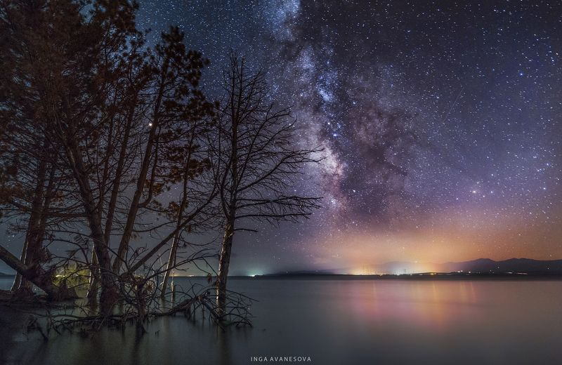night, milky way, galaxy Озеро Севанphoto preview