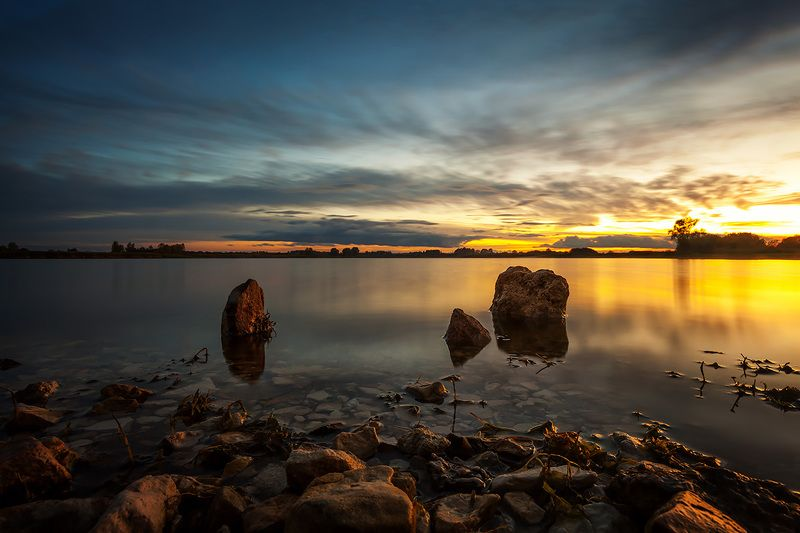 пейзаж, закат, озеро, небо, nature, landscape, sunset, sky Три братаphoto preview