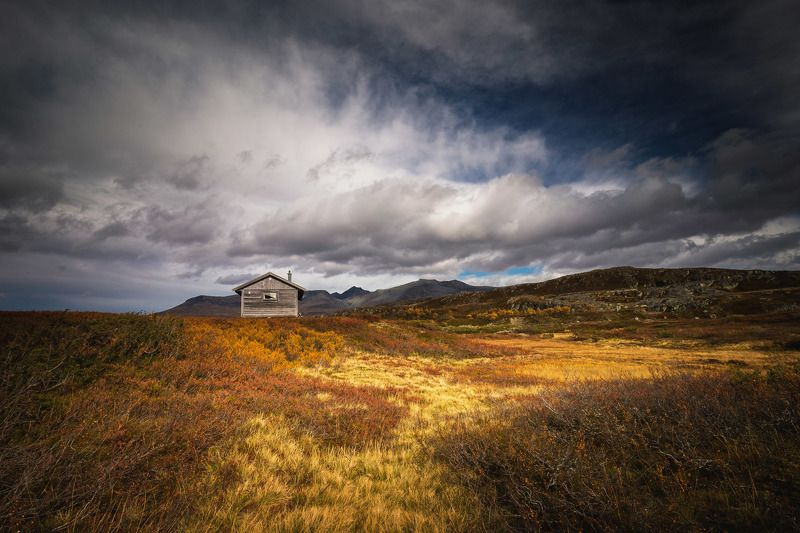 mountains, norway, sylan, norwegian, nature, landscapes, autumn, autumnal, wooden cabin, outdoor, Lonely cabinphoto preview