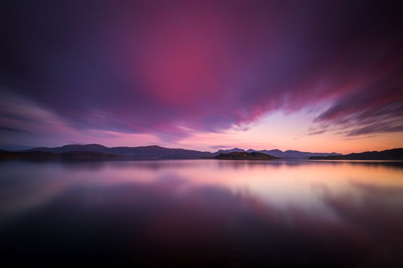 sunset, sky, norway, norwegian, mirrored, water surface, fiord, scandinavia, scandinavian, Mirrored sunset skyphoto preview