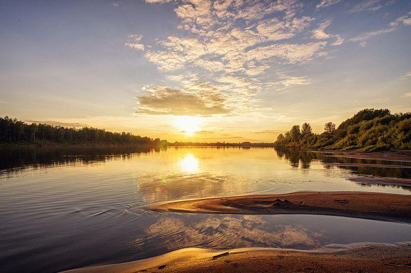закат, лето, река, небо, облака, отражение, солнце Тихо, очень тихоphoto preview