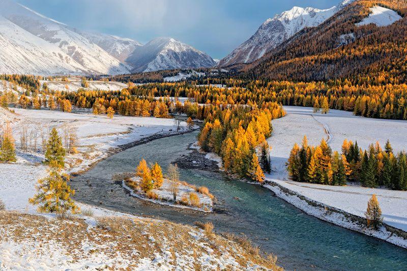 сибирь, алтай, горный алтай, чуя, снег, осень, горы, природа, пейзаж Первый снег на Чуеphoto preview