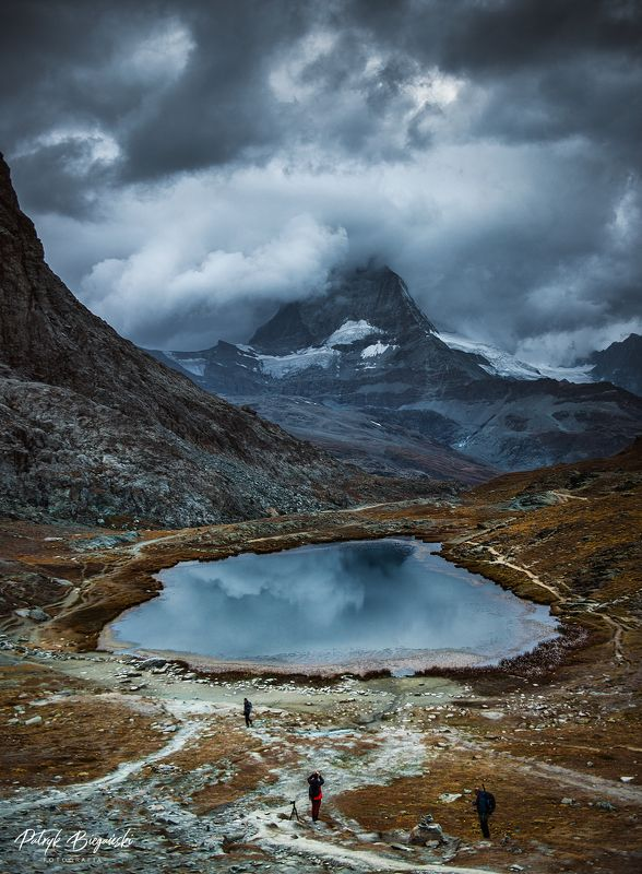 mountains, alps, pennine, dramatic, sky, matterhorn, zermatt, cloudy, clouds, storm, mountain, mount, landscape, people, drama In the shadowphoto preview