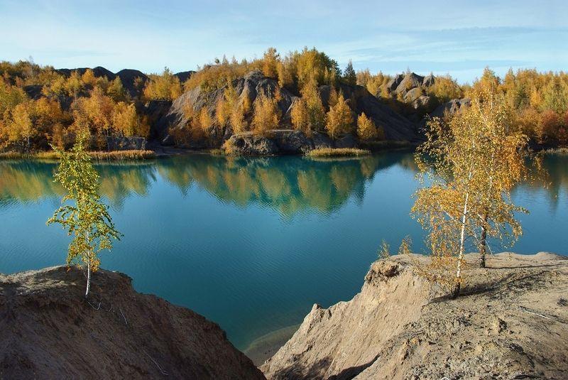 осень, березки, озеро, солнечно Осенние узорыphoto preview