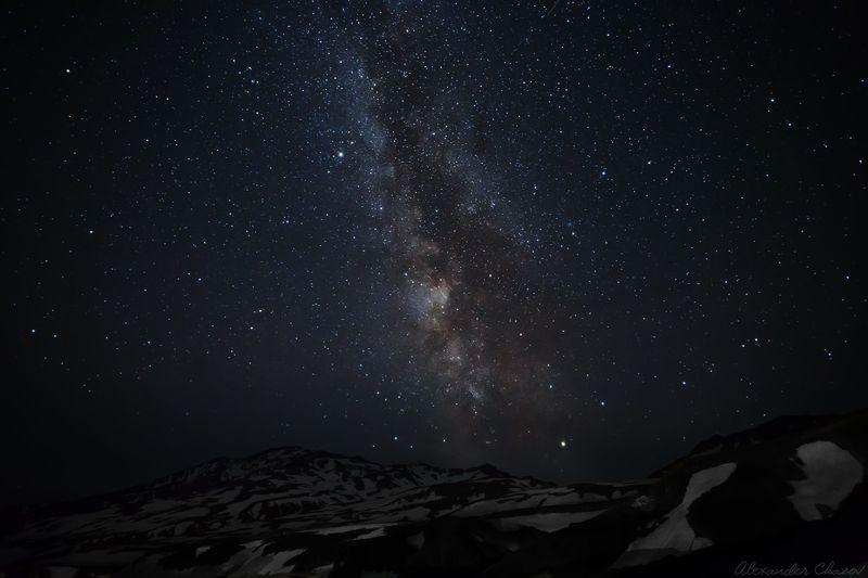 камчатка, вулкан, ночь, звезды Млечный путьphoto preview
