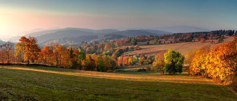 mountains, landscape, fall, autumn, landscapes, panorama, mountain, sudety, polska, poland Autumn morningphoto preview