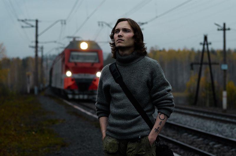 Портрет, Урал, осень, поезд, дорога,  В ожидании поезда.photo preview