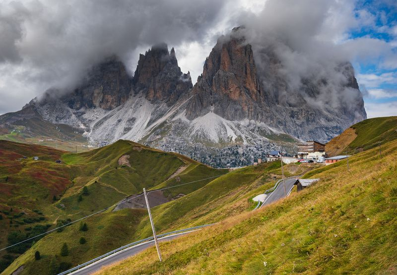 alps mountains,asphalt,clouds,dolomites,forest,funicular,hiking,hills,italy,journey,landscape,mountain,nature,peak,rainbow,road,rock,sky,tourism,travel,tree,view,village house,village landscape,way view of mountains: Sassopiatto and Punta Grohmannphoto preview
