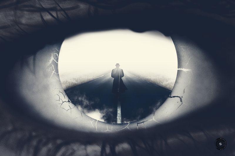 глаз, дорога, туман, зима, человек, зрачок В неизвестность...photo preview