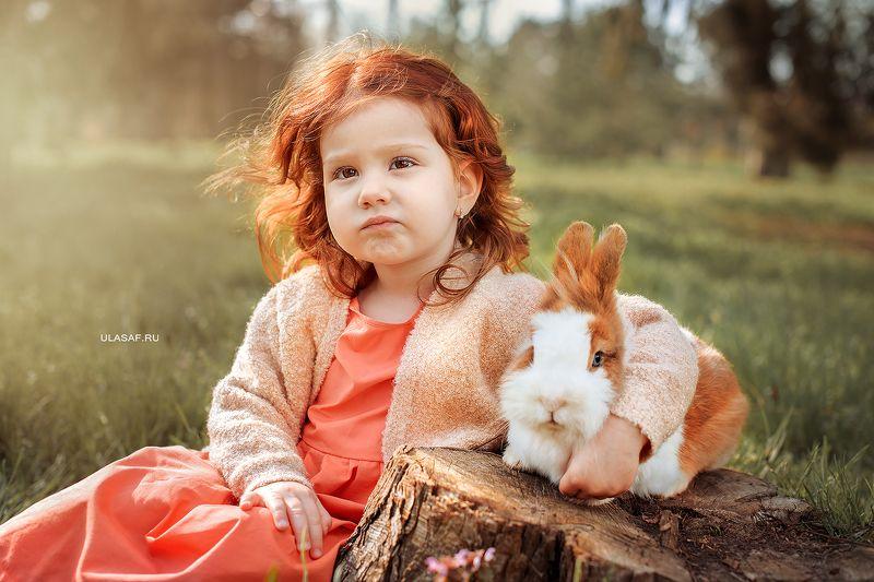 портрет, весна, девочка, girl, spring, кролик, животные, солнышко, друзья, лучи, happy, happiness, сказка, волшебство, rabbit Даша и крольчиха Тильдаphoto preview