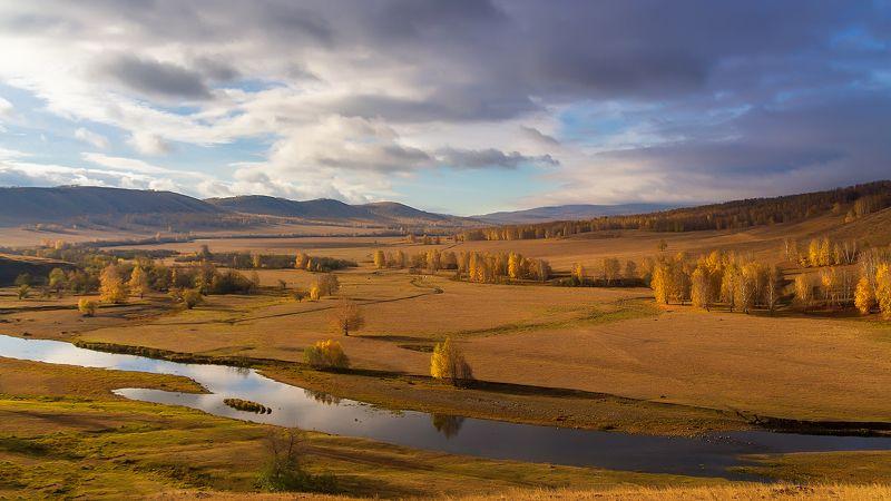 осень, долина, река Золотая долинаphoto preview