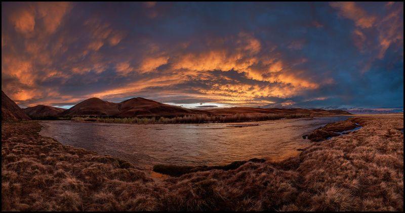 алтай, кызылшин, закат, река, огненные облака В Огне Закатаphoto preview