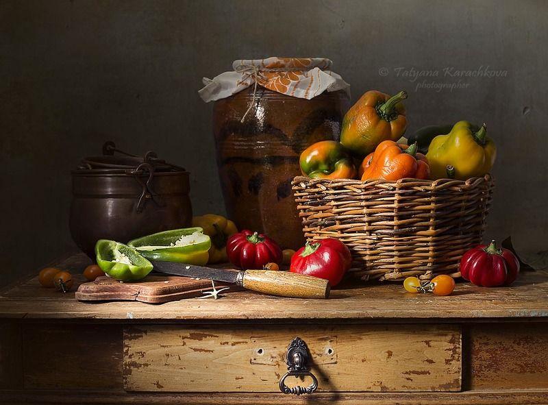 натюрморт, перец, паприка, гогошары корзина, горшок, посуда, помидоры, томаты Перцы, паприка и гогошарыphoto preview