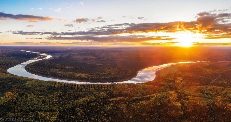 закат,  река,  небо,  облака, солнце,  коми,  вымь Закат на Выми.photo preview