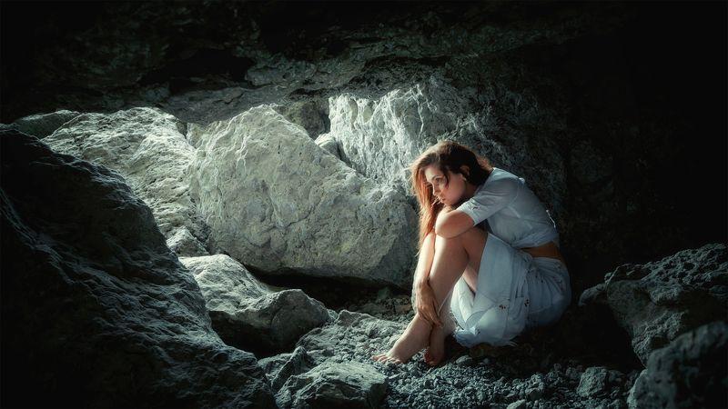 girl, portrait, stones, dress, refuge, silence, fear, cave, russia, krasnodar Insidephoto preview