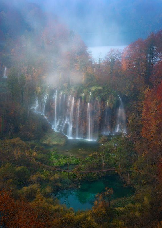 plitvice lakes croatia landscape autumn waterfall mist fog sunrise  plitvice фото превью
