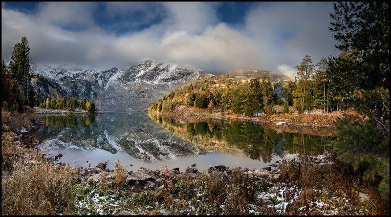 алтай, озеро, красное, горы, лес, отражение, первый снег На Красном Озере выпал первый снег!photo preview