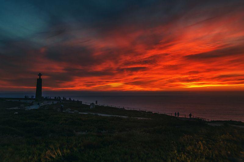 coast, travel, ocean, cabodaroca, portugal, europe, water, sunset, sun, rocks Real Sunset. Cabo da Roca.photo preview