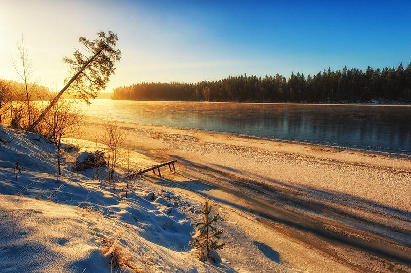 январь снег свет река мороз зима вуокса берега Январский ,утренний ,морозный...photo preview