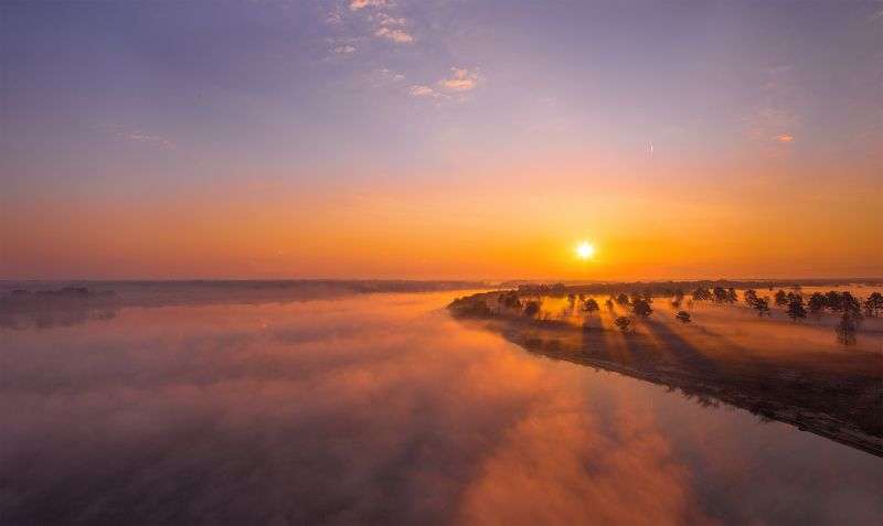 муром, россия, рассвет, туман, Владимирская область, Нижегородская область Над рекой Окойphoto preview