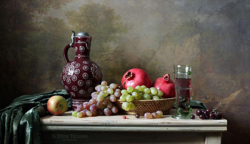 гранаты, фрукты, виноград, кувшин, яблоки, кухня, лесное стекло, бокал, С гранатамиphoto preview