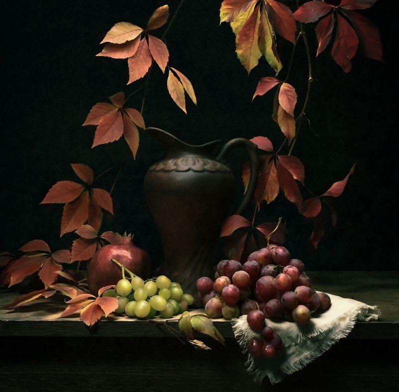 виноград, кувшин, гранат, лоза, натюрморт, вино ***photo preview