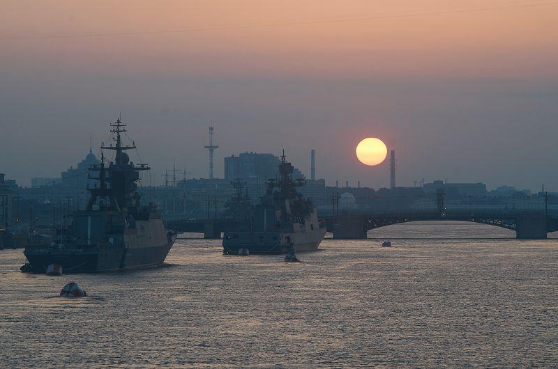 рассвет, пейзаж, Питер, Петербург, день вмф, корабли, Рассвет над Невой.photo preview