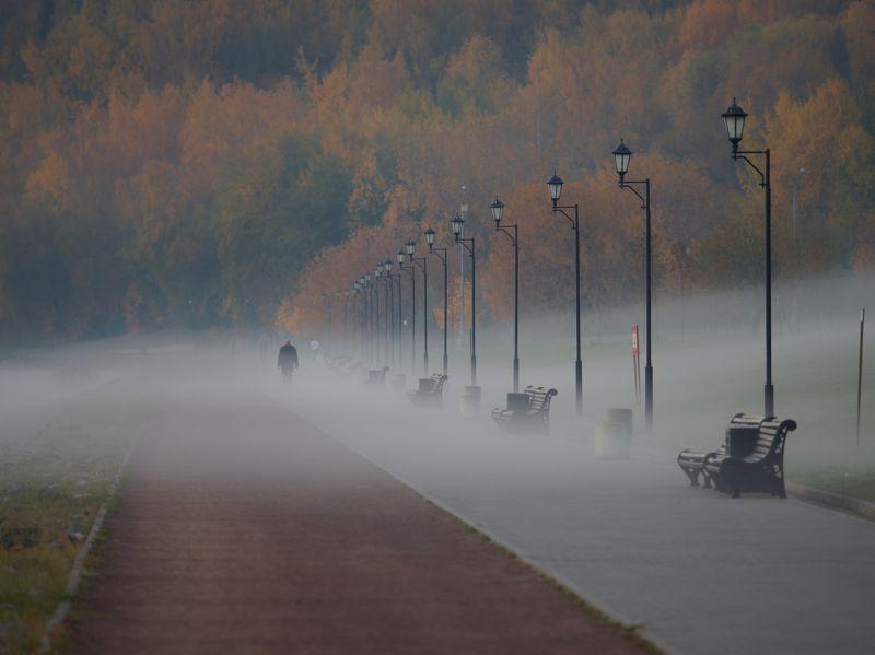 город, Москва, парк, архитектура, пейзаж, утро, рассвет, туман, красота, фонари, Коломенское  Осень - время тумановphoto preview