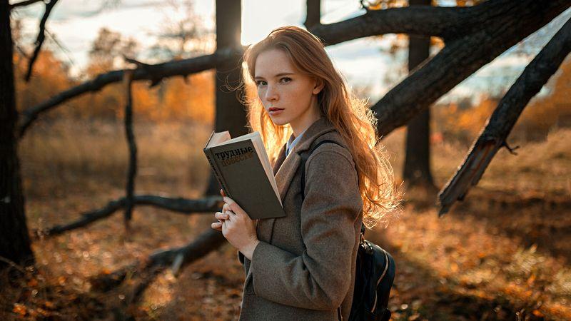 девушка, портрет, солнце, деревья Настяphoto preview