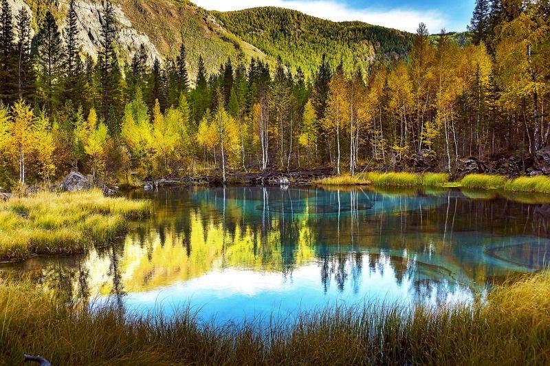 пейзаж, осень, горы, Горный Алтай  Озеро \