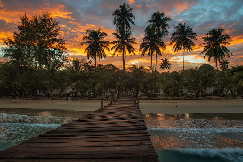 рассвет, ко куд, морской пейзаж, путешествие, пирс, остров, таиланд Цветное утро.photo preview