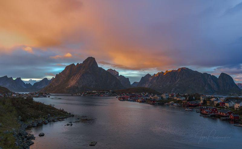 reine, norway, lofoten islands, orange sky, sunset, sea Оранжевое небо...photo preview